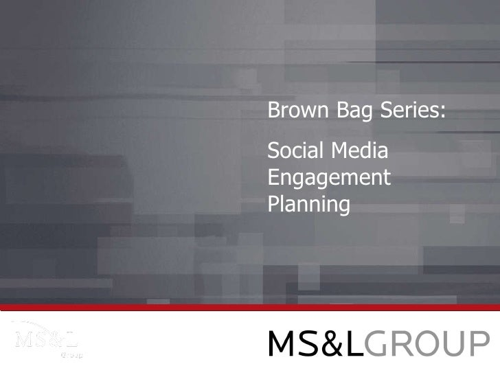 Brown Bag Series: Social Media Engagement Planning