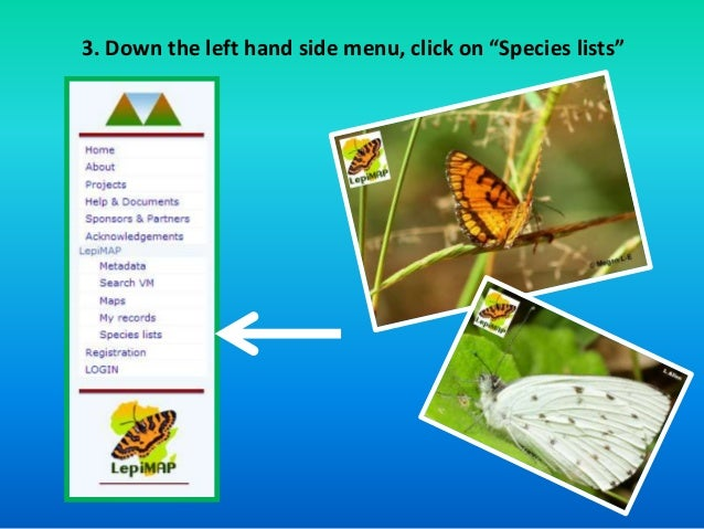 """3. Down the left hand side menu, click on """"Species lists"""""""
