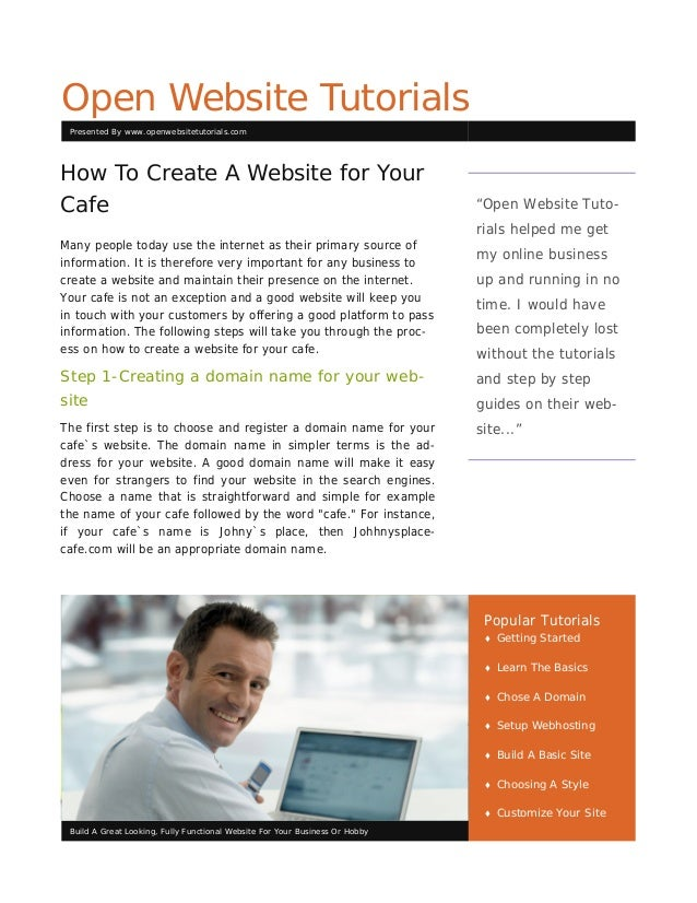 Open Website Tutorials Presented By www.openwebsitetutorials.comHow To Create A Website for YourCafe                      ...