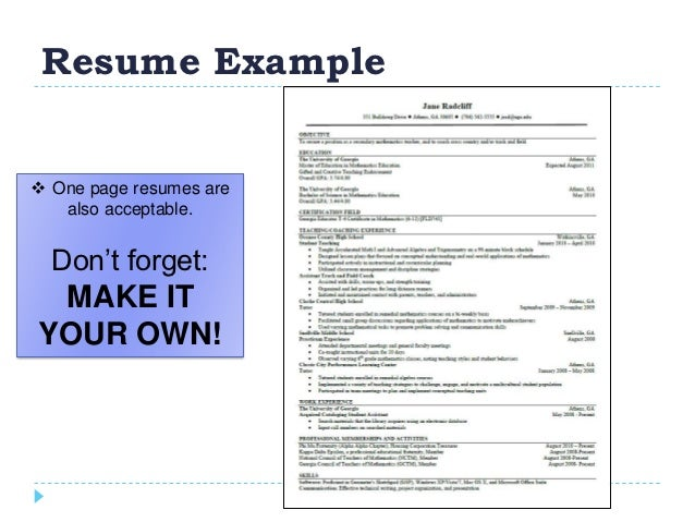resume example one page