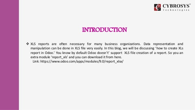 How to create a xls report in odoo