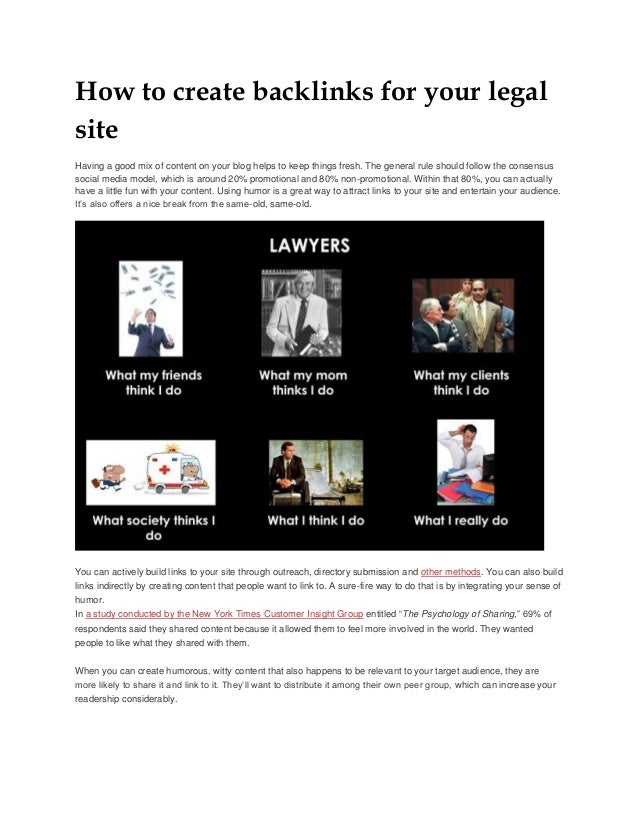 How to create backlinks for your legal site Having a good mix of content on your blog helps to keep things fresh. The gene...