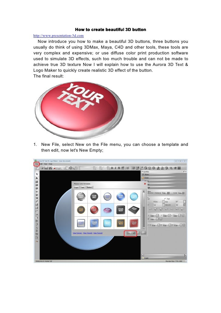 How to create beautiful 3D buttonhttp://www.presentation-3d.com  Now introduce you how to make a beautiful 3D buttons, thr...
