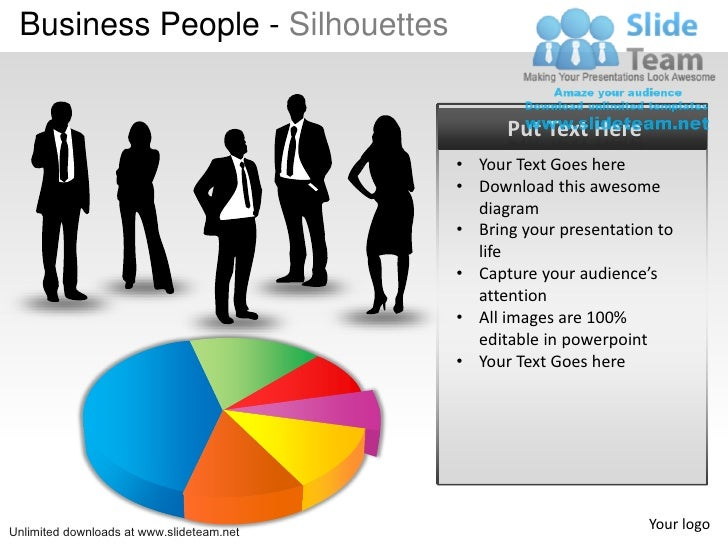 How To Create Business Market Share Using Pie Chart And Silhouettes P