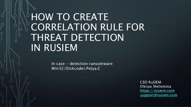 HOW TO CREATE CORRELATION RULE FOR THREAT DETECTION IN RUSIEM CEO RuSIEM Olesya Shelestova https://rusiem.com support@rusi...