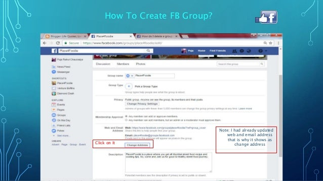 change facebook page to group