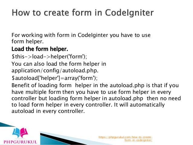 How to create form in codeigniter - Phpgurukul