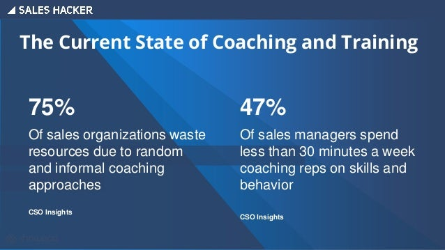 The Current State of Coaching and Training 75% Of sales organizations waste resources due to random and informal coaching ...