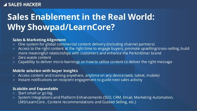 Sales Enablement in the Real World: Value & Results Over 1,000 users utilizing the platform for: ∙ Prospecting: First touc...