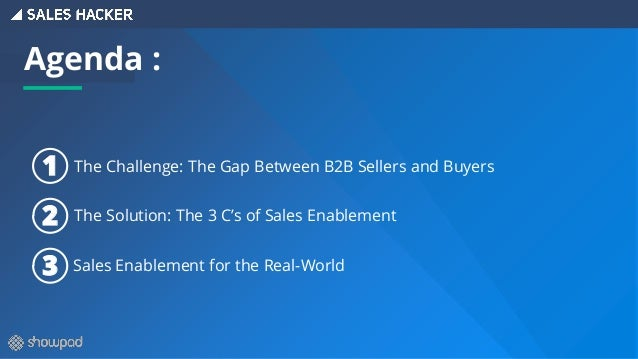 The Challenge: The Gap Between B2B Sellers and Buyers The Solution: The 3 C's of Sales Enablement Sales Enablement for the...