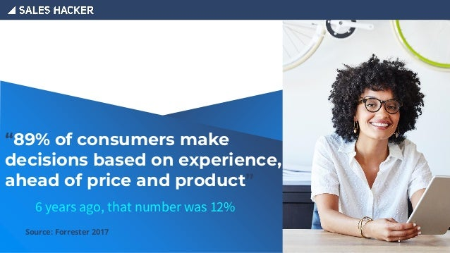 """Source: Forrester 2017 """"89% of consumers make decisions based on experience, ahead of price and product"""" 6 years ago, that..."""