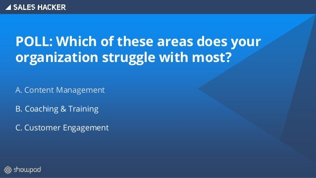 POLL: Which of these areas does your organization struggle with most? A. Content Management B. Coaching & Training C. Cust...