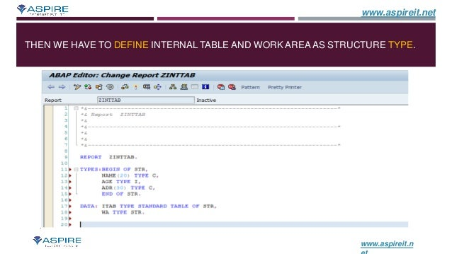 How To Create Internal Table in SAP ABAP - SAP ABAP Training
