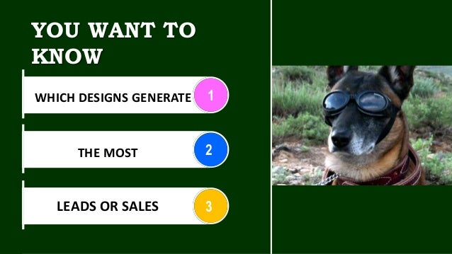 YOU WANT TO KNOW 1 2 3 WHICH DESIGNS GENERATE THE MOST LEADS OR SALES