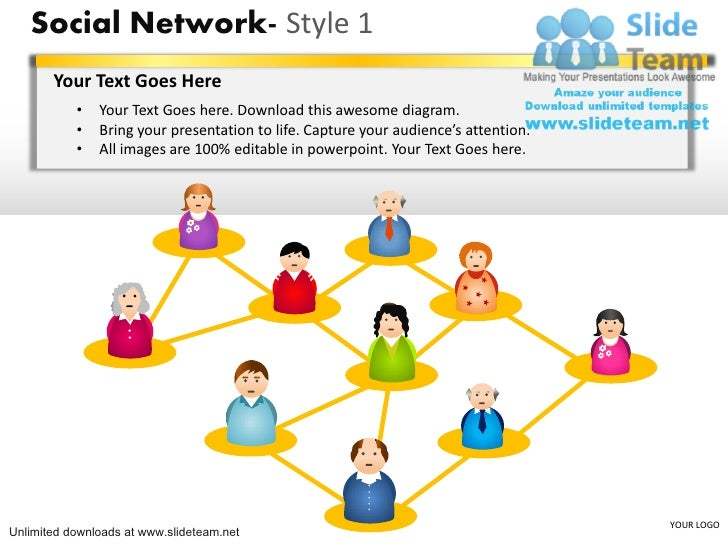 Social Network- Style 1       Your Text Goes Here           •   Your Text Goes here. Download this awesome diagram.       ...