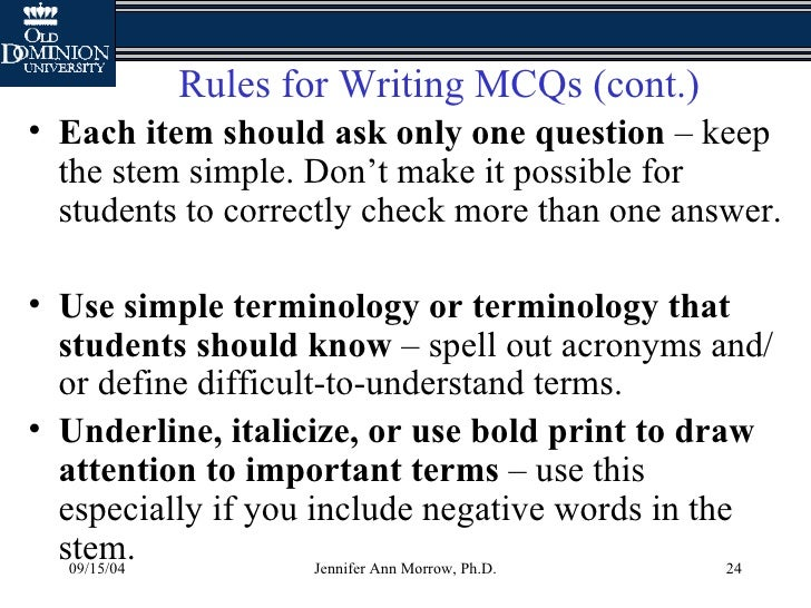 How to create multiple choice questions