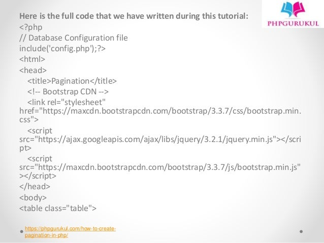 How to create pagination in php Tutorial : PHPGURUKUL