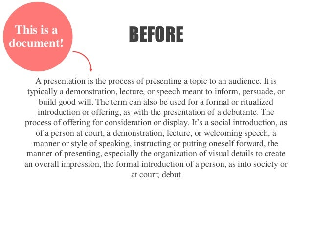 AFTER A presentation is the process of presenting a topic to an audience. It is typically a demonstration, lecture, or spe...