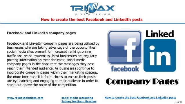 www.trimaxsolutions.com social media marketing Sydney Northern Beaches 1 of 8 Facebook and LinkedIn company pages are bein...