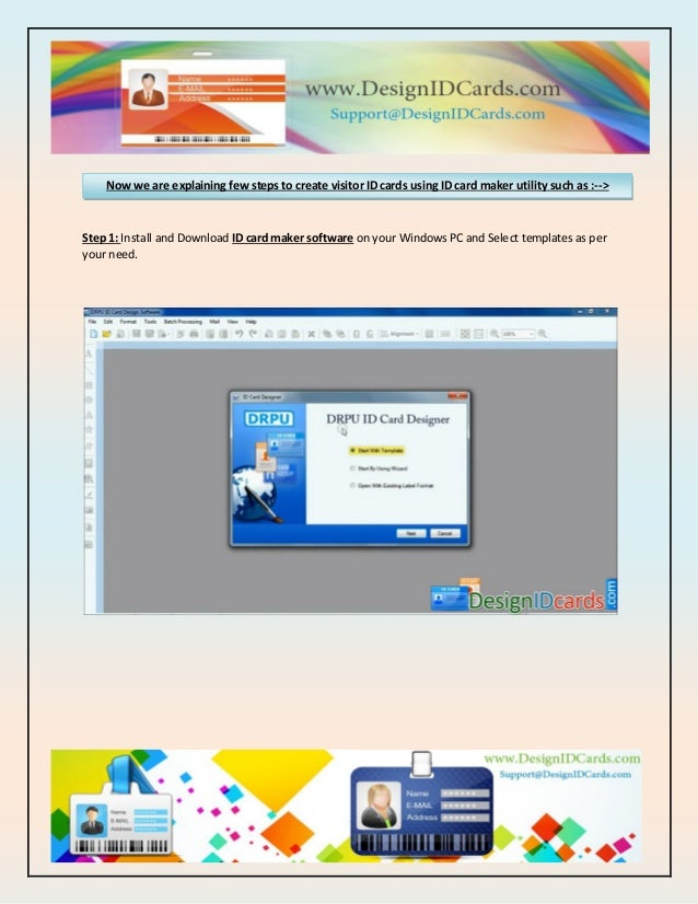 how to create visitor id cards using id card maker utility