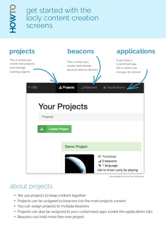 HOWTO  get started with the  locly content creation  screens  projects  This is where you  create new projects  and manage...