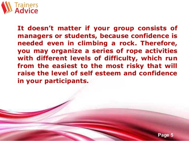 How to create your own teambuilding exercise for Self esteem powerpoint templates