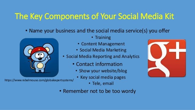 The Key Components of Your Social Media Kit • Name your business and the social media service(s) you offer • Training • Co...