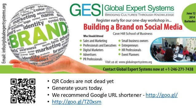• QR Codes are not dead yet • Generate yours today. • We recommend Google URL shortener - http://goo.gl/ • http://goo.gl/T...