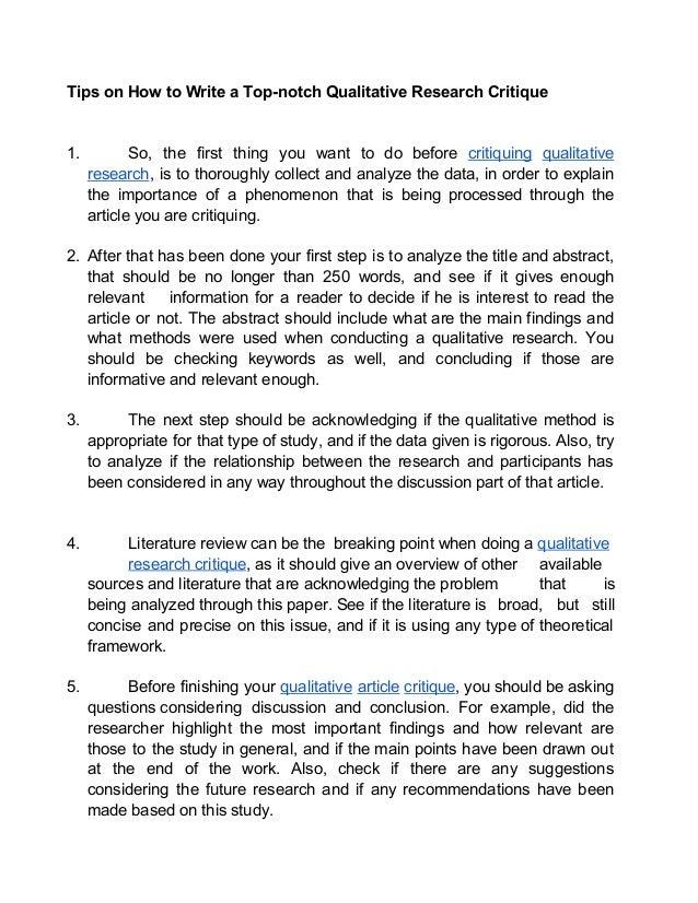 qualitative literature review critique