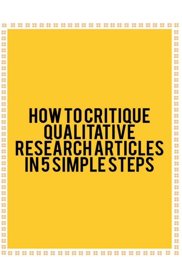 critiquing a qualitative research article