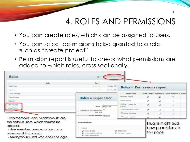 14  4. ROLES AND PERMISSIONS  • You can create roles, which can be assigned to users.  • You can select permissions to be ...