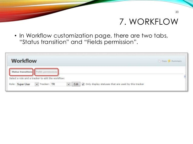"""20  7. WORKFLOW  • In Workflow customization page, there are two tabs,  """"Status transition"""" and """"Fields permission""""."""