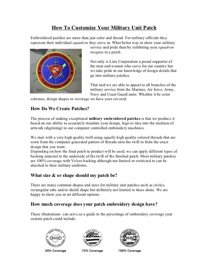 How To Customize Your Military Unit PatchEmbroidered patches are more than just color and thread. For military officials t...