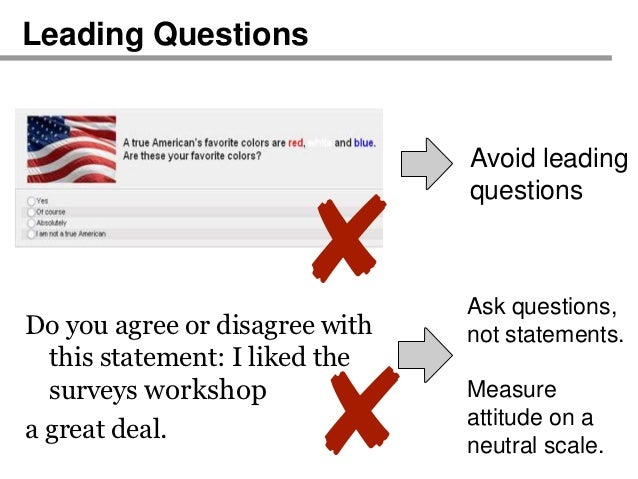 avoiding the biases that undermine neutrality in questions Start studying ch 6 learn vocabulary, terms, and more with flashcards, games, and other study tools  a method of posing questions to people on the telephone, in .