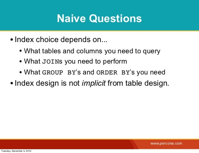Naive Questions       • Index choice depends on...              • What tables and columns you need to query              •...