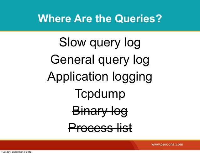 Where Are the Queries?                              Slow query log                             General query log          ...