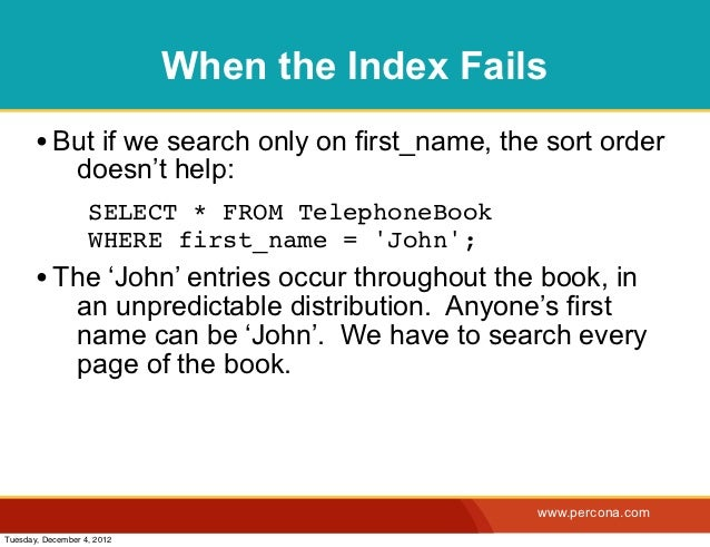 When the Index Fails       • But if we search only on first_name, the sort order                doesn't help:             ...