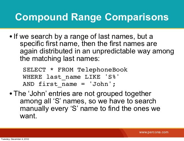 Compound Range Comparisons       • If we search by a range of last names, but a                specific first name, then t...