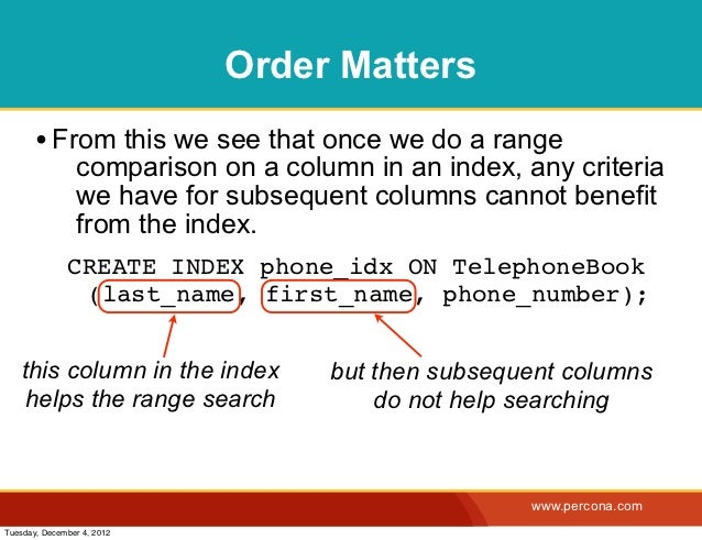 Order Matters       • From this we see that once we do a range                comparison on a column in an index, any crit...