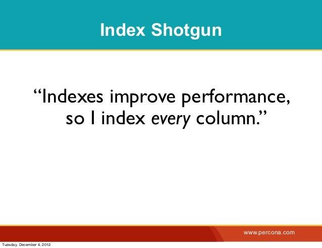 "Index Shotgun                ""Indexes improve performance,                    so I index every column.""                   ..."