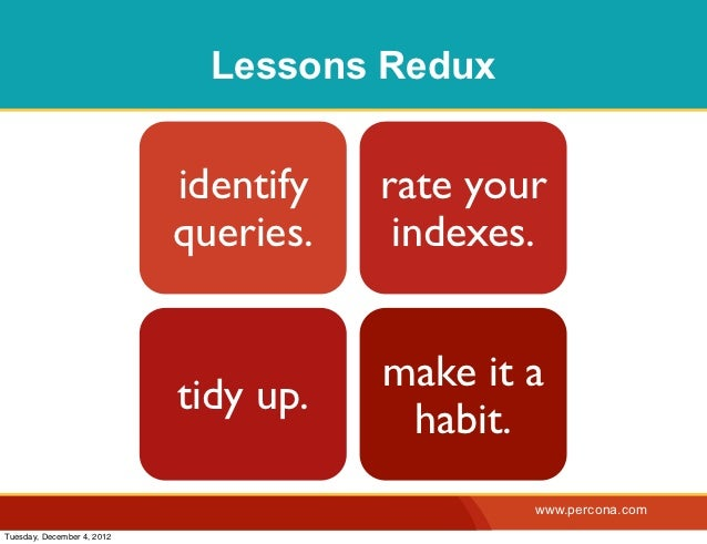 Lessons Redux                            identify   rate your                            queries.    indexes.             ...