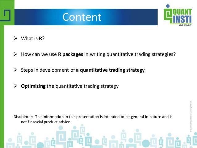 Trading strategies using r