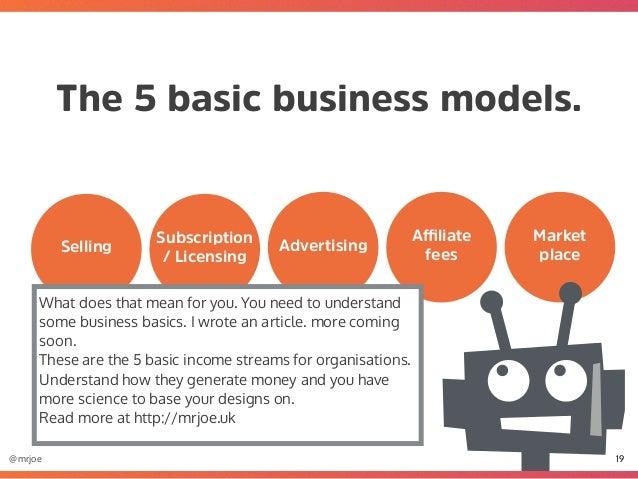 @mrjoe The 5 basic business models. 19 http://mrjoe.uk Advertising Affiliate feesSelling Subscription / Licensing Market pla...