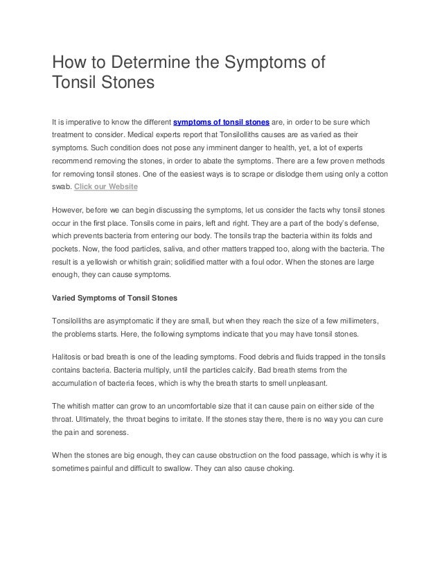 How To Determine The Symptoms Of Tonsil Stones