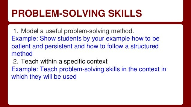 examples of problem solving skills
