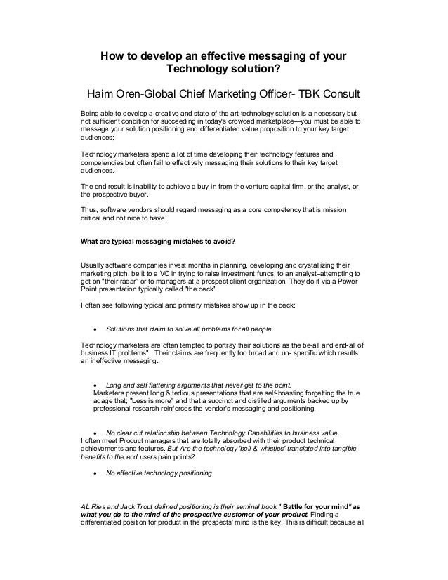 How to develop an effective messaging of your Technology solution? Haim Oren-Global Chief Marketing Officer- TBK Consult B...