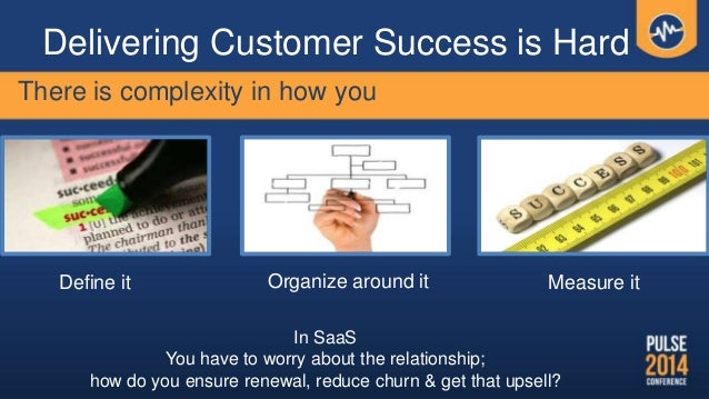 Delivering Customer Success is Hard Define it Organize around it Measure it There is complexity in how you In SaaS You hav...