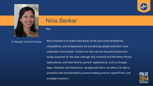 Nina Bankar Box Box's mission is to make businesses of all sizes more productive, competitive, and collaborative by connec...