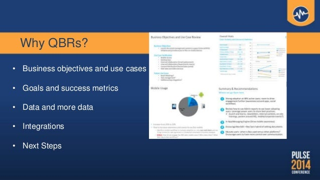 Why QBRs? • Business objectives and use cases • Goals and success metrics • Data and more data • Integrations • Next Steps