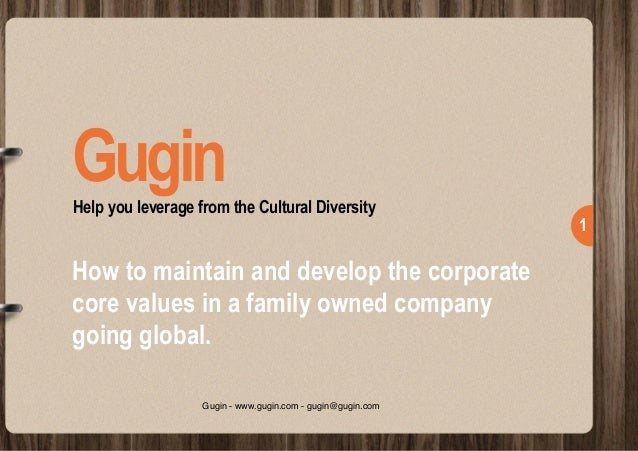 !1 Help you leverage from the Cultural Diversity Gugin How to maintain and develop the corporate core values in a family...